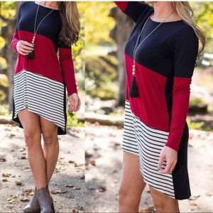 Cute and comfy long sleeves color block dress